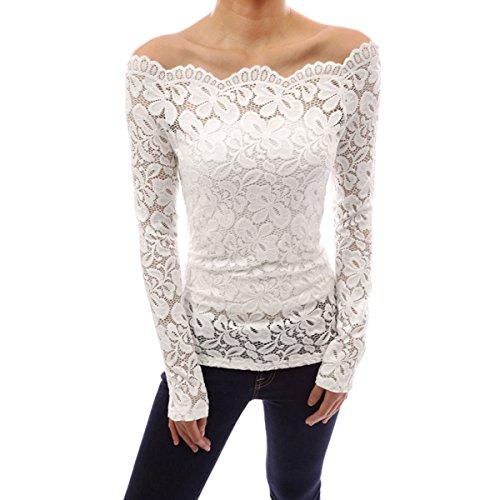 ZANZEA-Femme-Sexy-Shirt-Floral-en-Dentelle-paule-nue-Top-Blouse-Manches-longues-Slim-Shirt