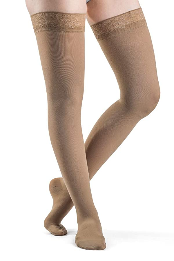 SIGVARIS Women's Style Soft Opaque 840 Closed Toe Thigh-Highs w/Grip Top 20-30mmHg (Color: Nude, Tamaño: LS - Large Short)