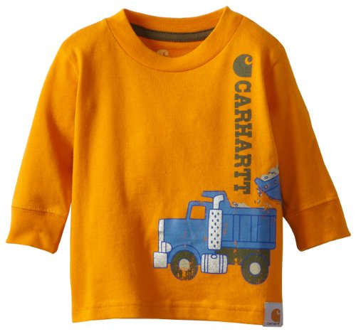 Carhartt Baby-Boys Newborn Long Sleeve T-Shirt Truck Wrap, Orange, 6 Months front-862029