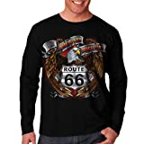 Wellcoda Americas Highway 66 Route Biker Rider Mens Long Sleeve T-Shirt NEW Tee 100% Cotton Top S-2XL Size