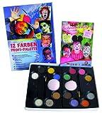 Toy - Eulenspiegel 212011 - Schminkset Profi, Schminkpalette mit 12 Farben, Pinsel, Schw�mmchen Und Anleitung