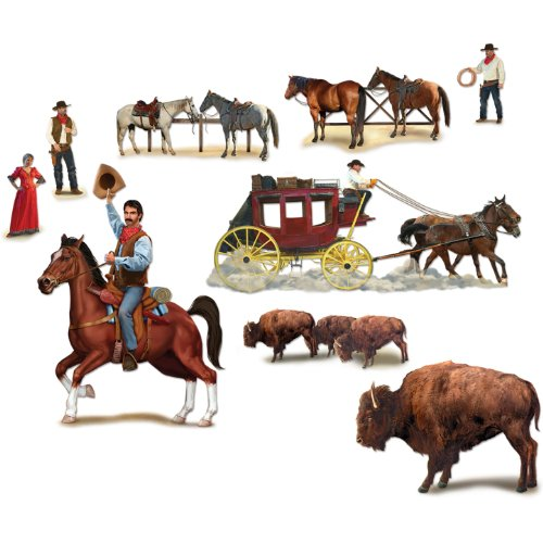 "Beistle 52039 Printed Wild West Character Props, 13"" to 4' 4"", 9 Pieces In Package - 1"