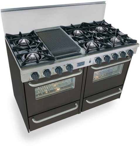 """48"""" Pro-Style Lp Gas Range With 6 Open Burners 2.92 Cu. Ft. Manual Clean Ovens Broiler Ovens And Double Sided Grill/Griddle"""