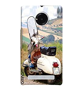 Omnam White Vintage Scooter Printed Designer Back Cover Case For Micromax Yunique