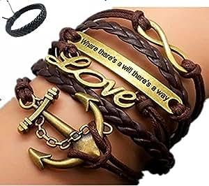 Jirong Freundschaft Geschenke Unendlichkeit Armband Anker Armband Liebe Charm Armband Antique Bronze Brown Korean Wax Cords Brown Leather 2426R