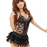 Sunnywill 1pc Dessous Rückenfreies Neckholder Babydoll String Spitzenkleid für Damen Frauen Mädchen (Schwarz)