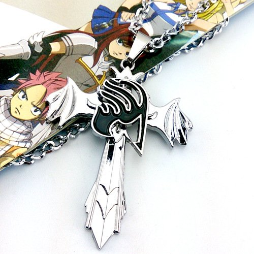 JulieStore-New Cosplay Anime Alloy Stainless Fairy Tail Red Rotatable Necklace