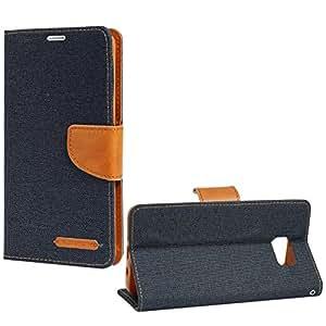 DMG Premium Canvas Diary Wallet Folio Book Cover for Samsung Galaxy Note 5 N920 (Pebble Blue)