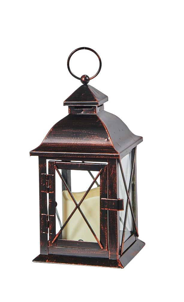 Smart Design STI84035LC Aversa Metal Lantern with LED Candle with Set Timer at Desired Time to Operate Automatically, Includes Realistic Candle Powered by One Amber LED