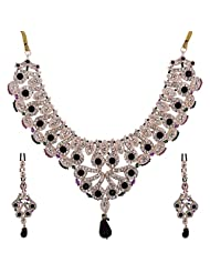 Lucky Jewellery Purple And Green Patwa Necklace Set With Mang Tika For Women - B00RFI32W8