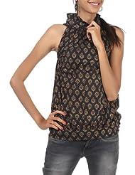 Rajrang Cotton Black, Gold Screen Printed Tunic Top Size: L