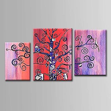 BSF pintado a mano pintura al óleo abstracta conjunto de 3con el lienzo para decoración del hogar listo para colgar