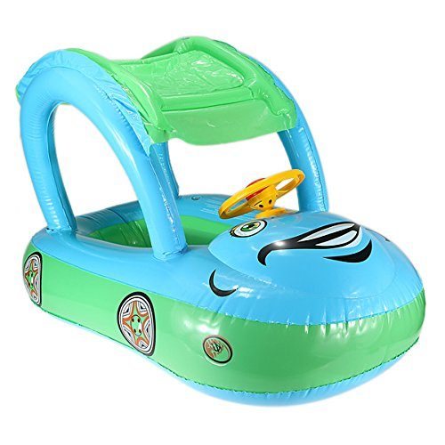 Inflatable Swimming Pool baby Float Seat Boat Car Sunshade adjustable, for Ages 6-36 months baby,Blue-Green Color (12 Free Float Quad Rail compare prices)