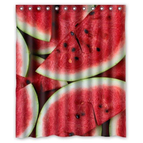 Custom Unique Design Watermelon Waterproof Fabric Shower Curtain, 72 By 60-Inch back-638614