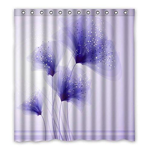 Viola Dandelion elegante su misura, rispettoso dell'ambiente acquazzone impermeabile cortina di serie, 167 cm x183 cm (66x72 pollici).