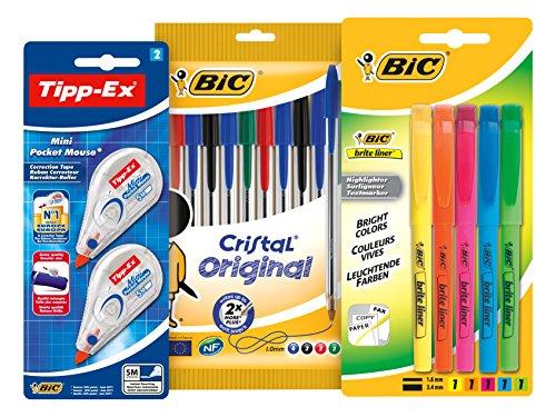 bic-special-rentree-des-classes-cristal-briteliner-tipp-ex-mini-pocket-mouse-pack-decriture-de-10-st