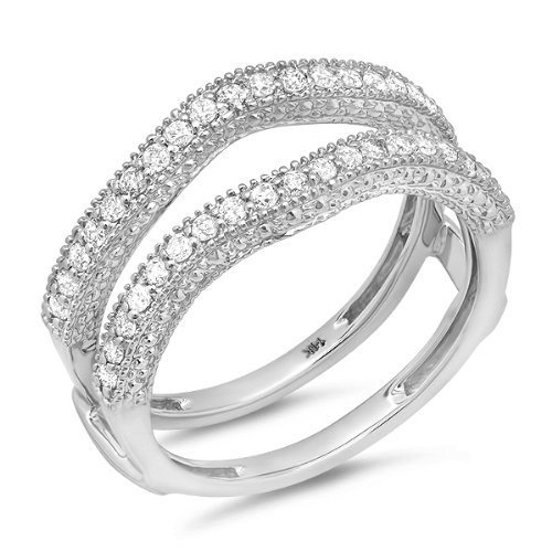 0.45 Carat (ctw) 14k White Gold Round Diamond Ladies Anniversary Wedding Band Millgrain Guard Double Ring 1/2...