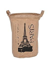 GreenForest® Eiffel Tower Vintage Eco-friendly Jute Linen Round Storage Bin Storage Basket, Natural