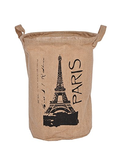 GreenForest Vintage Eco-friendly Jute Linen Round Paris Eiffel Tower Storage Bin Storage Basket, Natural - 1