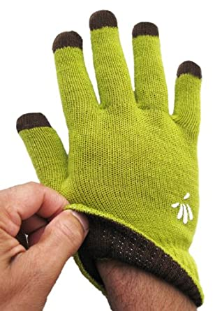SwypeGloves Small Green Texting Gloves - 'Amazon Rainforest' Touchscreen Gloves (Small, Lime Green)