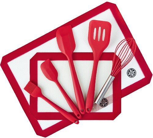 Ultimate Silicone Bakeware Set (7 Piece) - 2 x Premium Silicone Baking Mats in Silpat Style - 5 x Silicone Kitchen Utensils in Hygienic Solid Silicone Design - Cherry Red - 100% FDA Compliant - Premiu