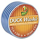 Duck Brand Washi Crafting Tape, 0.75-Inch by 240-Inch Roll, Pack of 6 Rolls, Blue Stripes (282682)