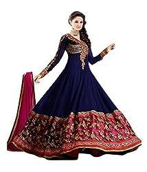 Yeoja Creation Women's Georgette Salwar Suit Dress Material (YJ-01_Blue)