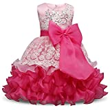 NNJXD Girl Ruffles Vintage Embroidered Sequins Flower Wedding Dress Size (140) 6-7 Years Rose