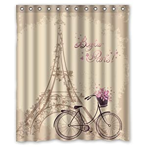Tye Dye Shower Curtain Eiffel Tower Bathroom