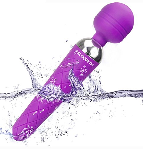 Wand Massager, PALOQUETH 10x Extreme Power Multi-Speed Cordless USB Rechargeable Waterproof Handheld Body Vibrator (Purple)