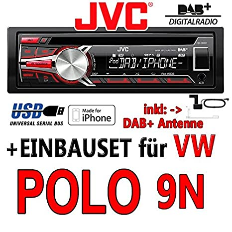 Volkswagen polo 9N jVC-kD-dB65 dAB autoradio cD/mP3/uSB avec dAB et antenne