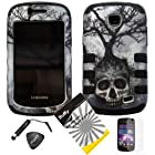 4 items Combo: ITUFFY(TM) LCD Screen Protector Film + Mini Stylus Pen + Case Opener + Silver Black Greyish Tree Skull Design Rubberized Hard Plastic + Soft Rubber TPU Skin Dual Layer Tough Hybrid Case for Straight Talk Samsung Galaxy Proclaim 720C SCH-S720C / Verizon Samsung Illusion i110