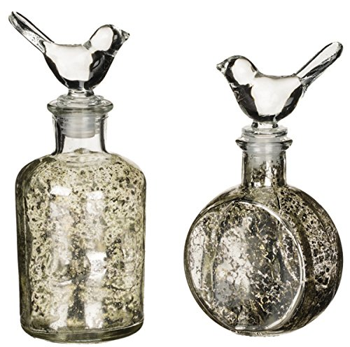 Sullivans 6 and 7 decorative glass bottles with bird for Colored glass bottles with corks