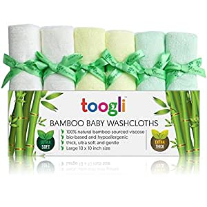 Toogli Ultra Soft Bamboo Baby Washcloth Set (6 Pack) Best Wash Cloths for Sensitive Skin - Thick 32 Gram Weight - Large 10 x 10 Inch Reusable Wipes Ideal Baby Shower/Registry Gift for Any Amazon Mom