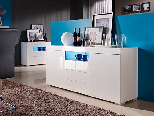 Sideboard-Kommode-Wei-LED-Wohnzimmer-Schlafzimmer-Hochglanz-Modern-Elegant