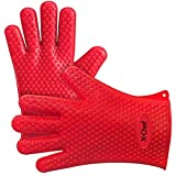 Oven Mitts Gloves, Heat Resistant Silicone BBQ Grilling Gloves, for Cooking, Baking, Barbecue, Smoking & Potholder