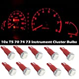Partsam 10x T5 37 73 74 2721 Wedge Instrument cluster Panel LED Light Bulb Lamp Red For 2004-2011 Chevrolet Colorado