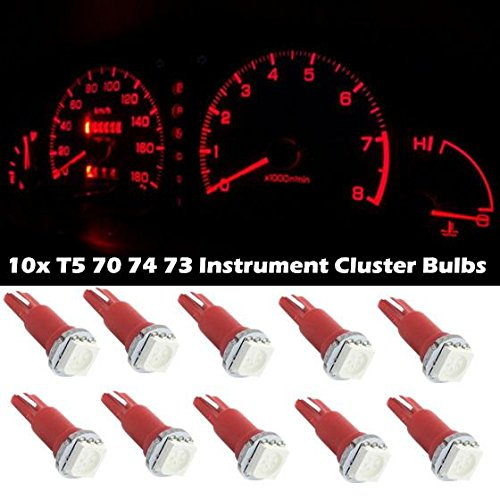 Partsam 10x T5 17 37 73 74 2721 Wedge Instrument Panel Dashboard LED Light Bulb Lamp Red For 2004-2011 Chevrolet Colorado (1991 Chevy Silverado Dash compare prices)