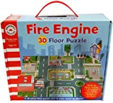 Fire Engine Vehicle 3D Floor Puzzle In Carry Box ~ 36 Piece Fire Station Jigsaw Puzzle