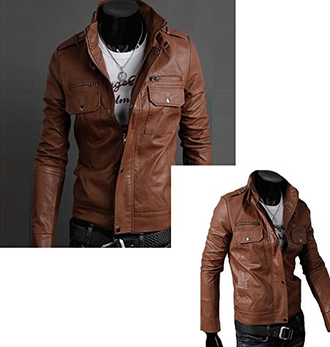 Men Slim Pu Leather Zip Biker Short Jacket Coat Overcoat X-Large Light Brown