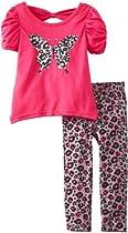 Little Lass Baby-Girls Infant 2 Piece Bow Back Butterfly Legging Set, Hot Pink, 18 Months