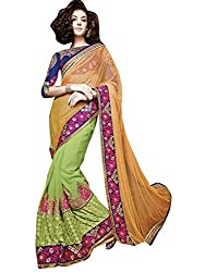 Vibes Georgette Patch Work Saree (L2-5007 _Green)