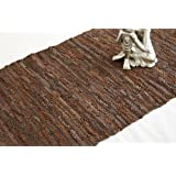 Denver Leather Woven Rug Brown