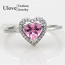 buy Master Jiwelry 7 Colors 4 Sizes Peridot Silver Wedding Halo Engagement Pink Heart Ring Women With Colored Stones Cincin Wanita Y3130