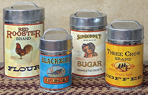 "CWI Gifts Vintage Canisters Food Safe (Set of 4), 7.25""-10.25"""