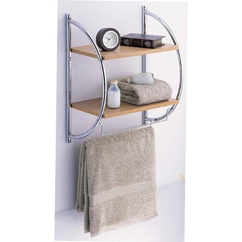 Organize It All Manhattan 2-Tier Wood Mounting Shelf with Towel Bars