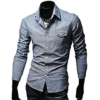 Hot Men Slim Cowboy Jeans Shirts Long Sleeve Button-Down Shirts Top Dress Shirts,X-Large,Blue