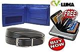 V-Luma 100% Genuine Blue Leather Wallet & Black Belt for Men's with Free Aluminum Credit Card Holder