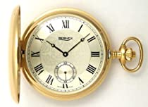 Bernex Swiss Made Large Gold Plated Satin Pocket Watch with 17 Jewel Movement