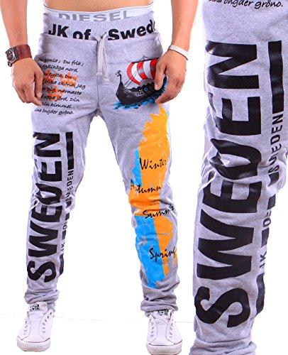 Herren lange Trainingshose Sweden   Schweden Sporthose (XL, Grau)